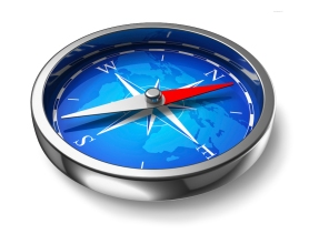 Blue metal compass