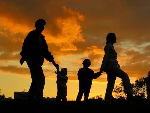 family of four sunset