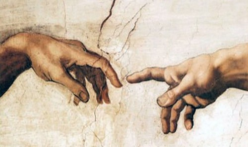 The Creation of Adam Detail